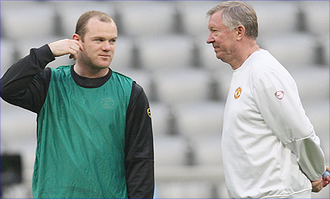 Man Utd manager Sir Alex Ferguson (right) and striker Wayne Rooney