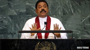 President Rajapaksa addressing the UN General Assembly in New York
