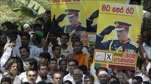 Supporters of Sarath Fonseka protesting in Colombo after his arrest in February (file photo)