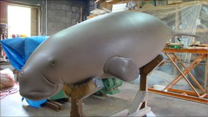 Model of an Okinawa dugong used in rescue drills and exhibitions