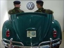 Soldiers sit in a VW Car at the Reme Museum in Arborfield