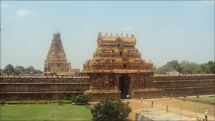 The Brihadisvara temple is considered the finest example of southern Indian architecture