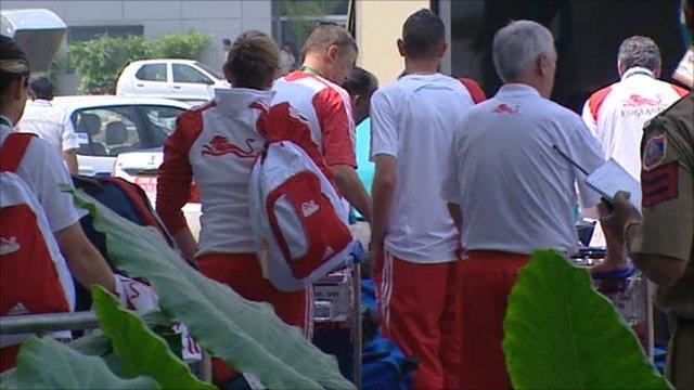 England athletes arrive