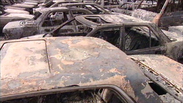 Burnt cars