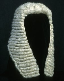 The wig of a judge