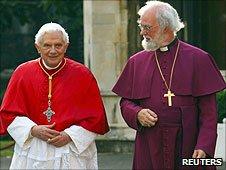 The Archbishop of Canterbury Rowan Williams greets Pope Benedict XVI at Lambeth Palace