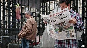 Bogota newspaper with headline on the death of Mono Jojoy. 24 Sept 2010