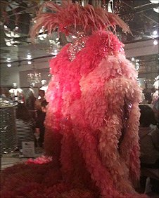 One of Liberace's outfits covered in pink feathers