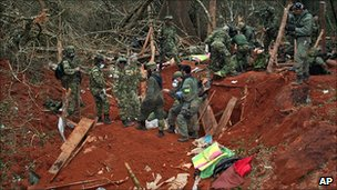 Troops inspect Mono Jojoy's Farc camp in the Macarena region. 24 Sept 2010