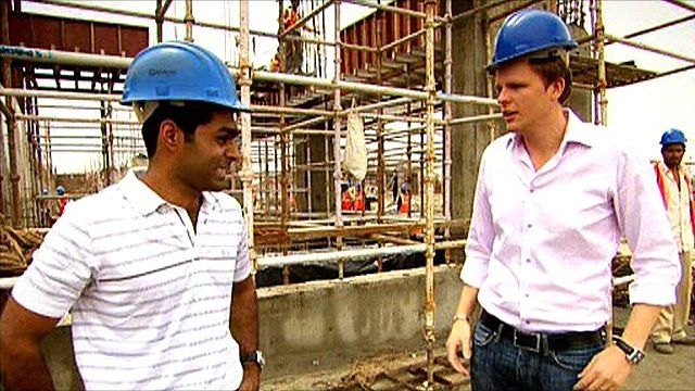 Hispania Racing's Karun Chandhok and BBC Sport's Jake Humphrey