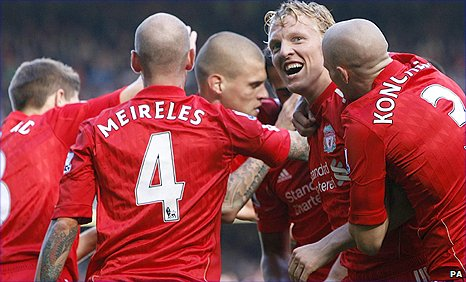 Dirk Kuyt (second right) celebrates scoring Liverpool's controversial opener in the game against Sunderland
