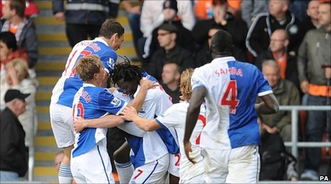 Blackburn celebrate their winner at Blackpool