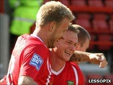 Jamie Tolley congratulates fellow goal-scorer Dean Keates against Histon