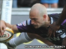 Ospreys wing Richard Fussell scores an early try against Aironi