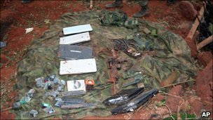 Laptops and weapons found at the Farc camp