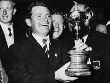 Dai Rees celebrates winning the 1957 Ryder Cup