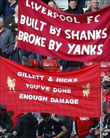Fans protest at Anfield after Liverpool's draw with Sunderland