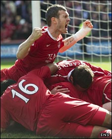 Aberdeen celebrate after taking the lead