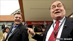 Ed Balls and John Prescott at the Labour conference