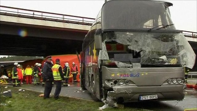 polish tourists die in bus crash near berlin bbc news. Black Bedroom Furniture Sets. Home Design Ideas