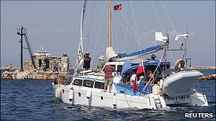 Catamaran Irene sets sail from Famagusta in Cyprus. 26 Sept 2010
