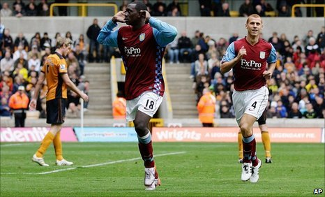 Emile Heskey celebrates scoring his late winner at Wolves