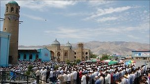 Thousands of worshippers gather for Friday prayers at the central mosque in Khujand in northern Tajikistan