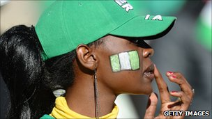 A Nigerian football fan at the World Cup