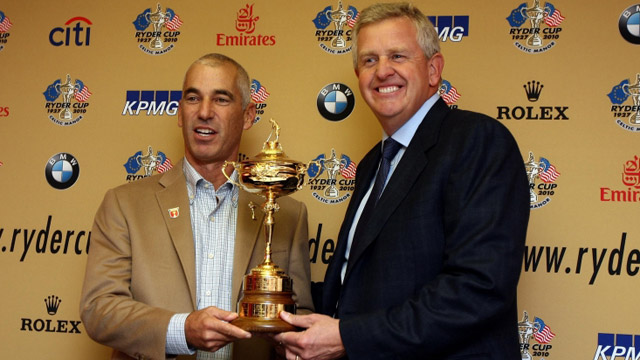 Ryder Cup captains Colin Montgomerie and Corey Pavin