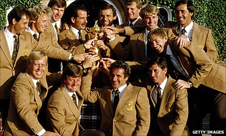 The winning European Ryder Cup team in 1985
