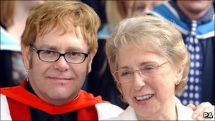 Sir Elton John with his mother in  2002