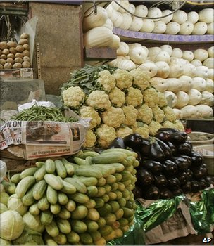 Vegetable market stall, India (Image: AP)