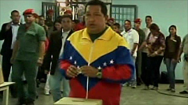 Hugo Chavez casts his vote