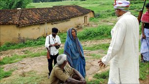 Mr Yadav talking to villagers in south-western Bihar