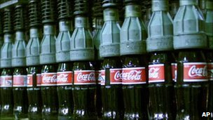 Coca-Cola bottles in bottling plant