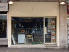 An empty shop front in Newport