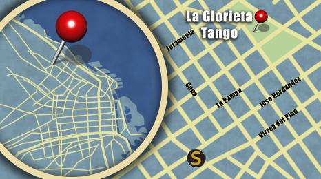 Map showing location of La Glorieta