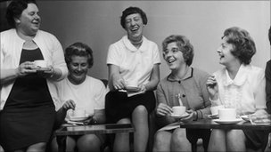 Barbara Castle (right) meets the Dagenham women strikers
