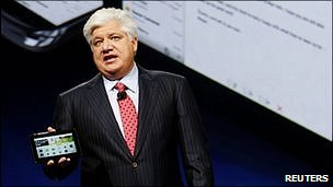 Mike Lazaridis holds the Playbook