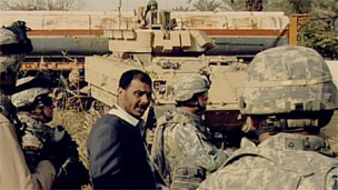Sheikh Jabbar with American soldiers