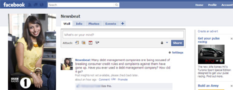 Screen grab of Newsbeat Facebook page