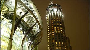 A view of  Swissotel Krasnye Holmy by night, Moscow, 2006