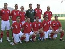Guernsey footballers in England kit