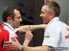 Ferrari team principal Stefano Domenicali shares a joke with McLaren's Martin Whitmarsh