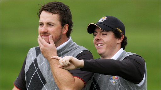 Graeme McDowell with Rory McIlroy