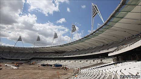 Olympic Stadium construction as of 5 July 2010
