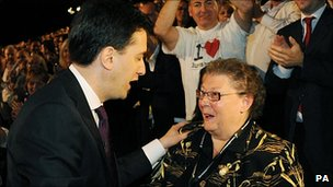 Ed Miliband greets Gillian Duffy after his speech