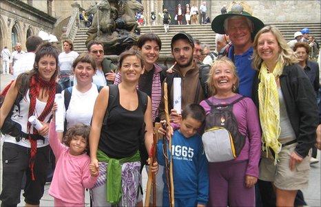 Pilgrims arrive in Santiago
