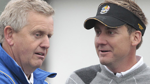 Ian Poulter (right) with European captain Colin Montgomerie