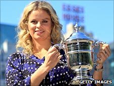 Kim Clijsters celebrates her US Open win
